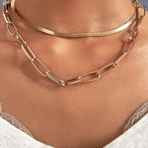 Gold Layered Chain Link Necklace